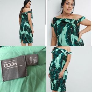 ASOS Curve Palm Leaf Hitchcock Midi Pencil Dress
